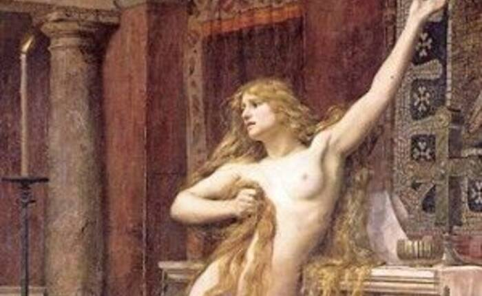 "particolare del quadro ""Hypatia"" di Charles William Mitchell, 1885"